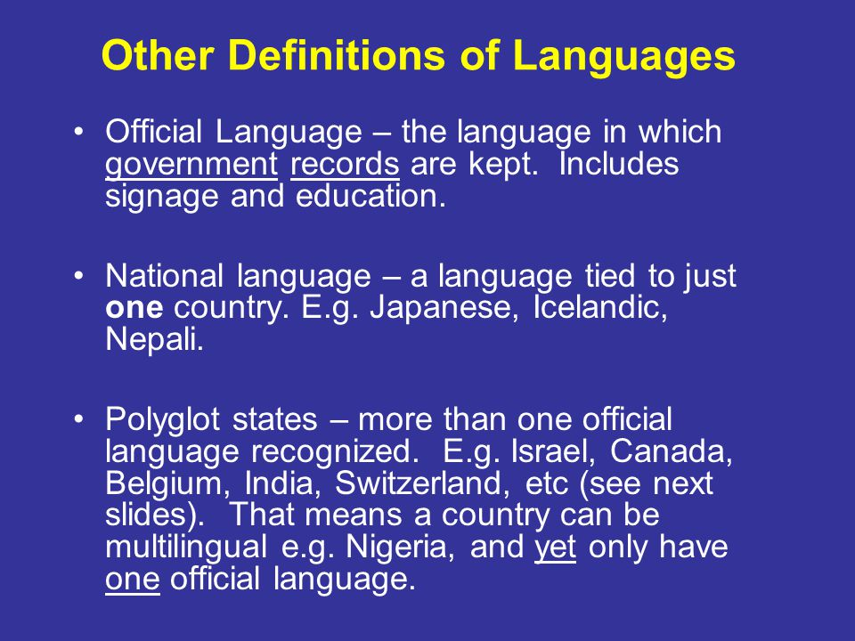 Other Definitions of Languages
