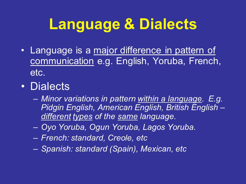 Language & Dialects Dialects