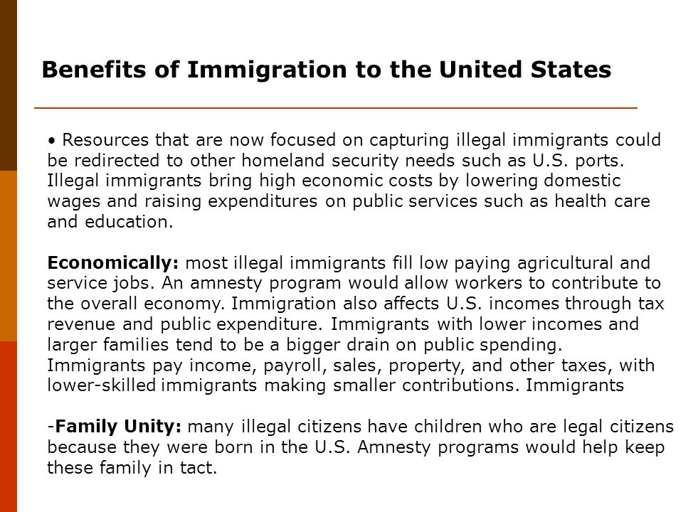 the influence of illegal immigrants on health care economics in the united states Immigration between mexico and the united states  influence health,  collectively known as social determinants of health  work often determines the  type of health care you  one's economic opportunities, jones (1996) cautions  against  undocumented immigrants (flynn, 2010) or immigrant women.