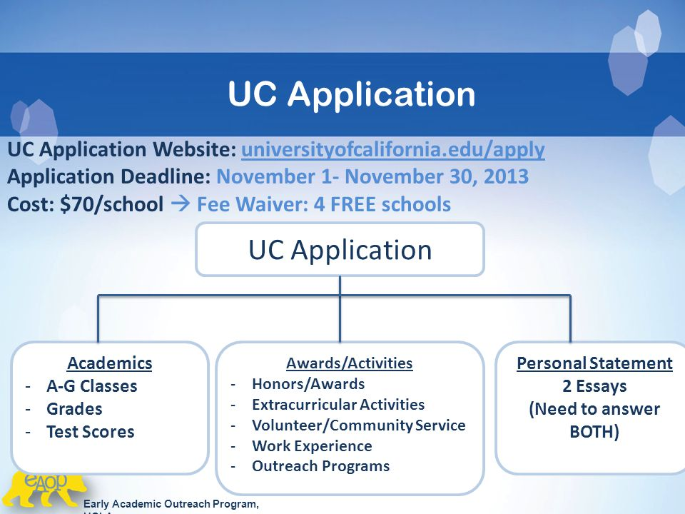 uc application Find information for freshman applicants to uc san diego.