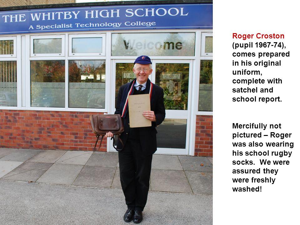 Roger Croston (pupil 1967-74), comes prepared in his original uniform, complete with satchel and school report.