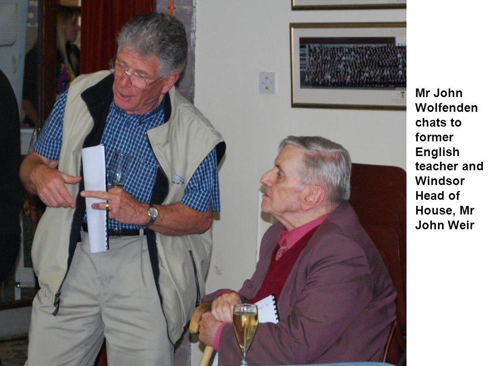 Mr John Wolfenden chats to former English teacher and Windsor Head of House, Mr John Weir