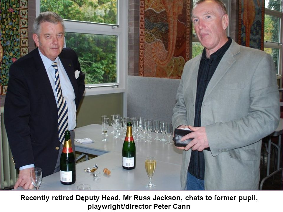 Recently retired Deputy Head, Mr Russ Jackson, chats to former pupil,