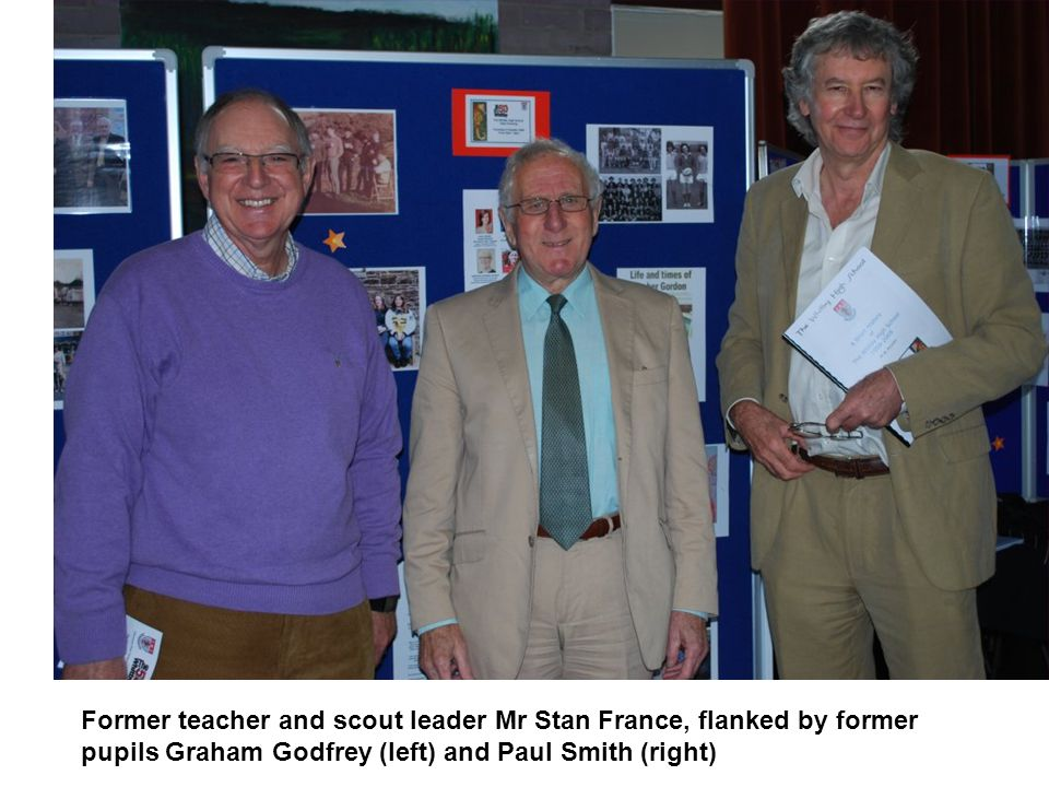 Former teacher and scout leader Mr Stan France, flanked by former pupils Graham Godfrey (left) and Paul Smith (right)