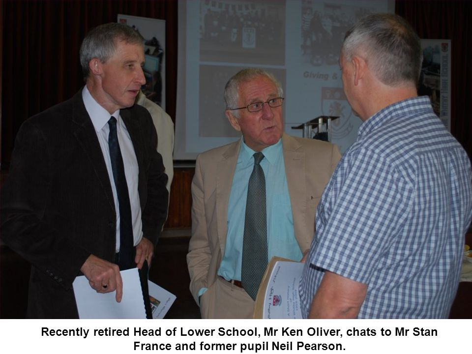 Recently retired Head of Lower School, Mr Ken Oliver, chats to Mr Stan France and former pupil Neil Pearson.