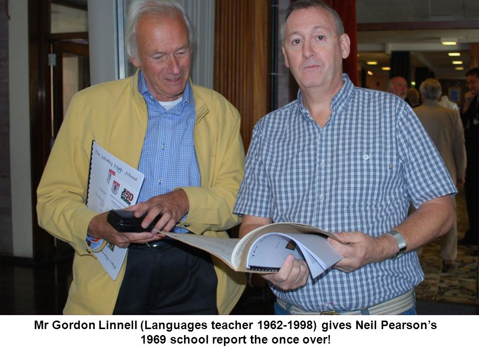 Mr Gordon Linnell (Languages teacher 1962-1998) gives Neil Pearson's 1969 school report the once over!