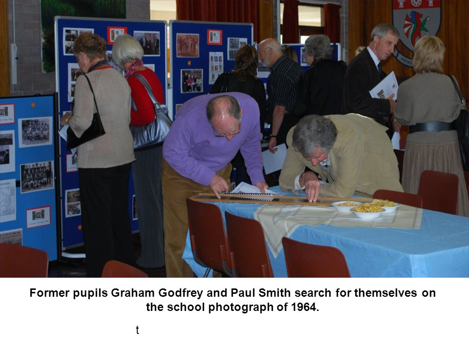Former pupils Graham Godfrey and Paul Smith search for themselves on the school photograph of 1964.