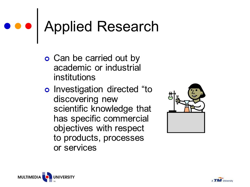 Applied Research Can be carried out by academic or industrial institutions.