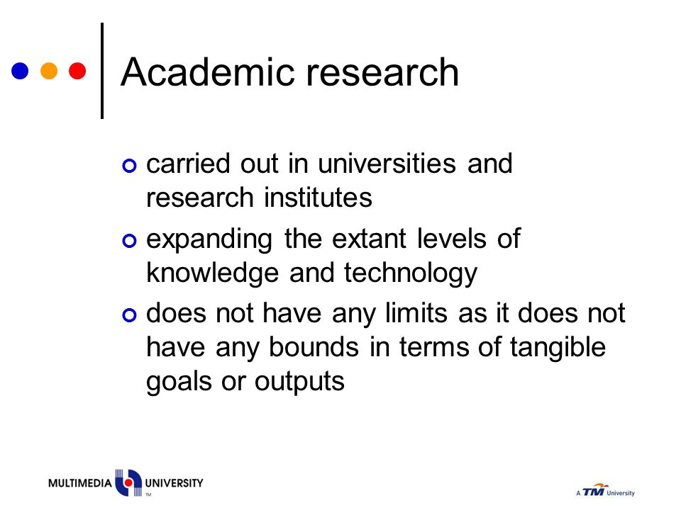 Academic research carried out in universities and research institutes