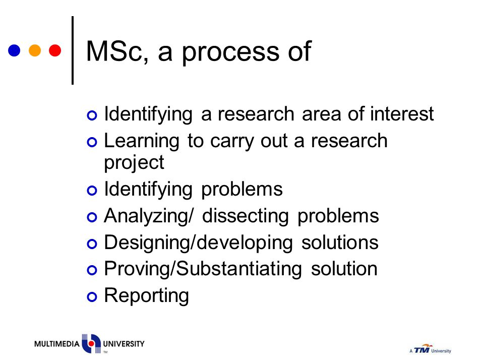 MSc, a process of Identifying a research area of interest