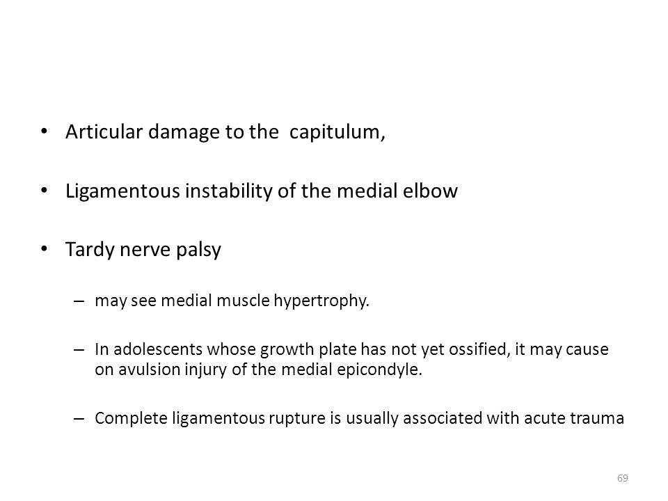 Articular damage to the capitulum,