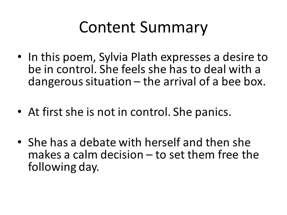 arrival of the bee box by sylvia plath essay Sylvia plath the arrival of the bee box essay creative writing workshops for the elderly april 9, 2018 leave a comment i want to dance to forget all this overcome.