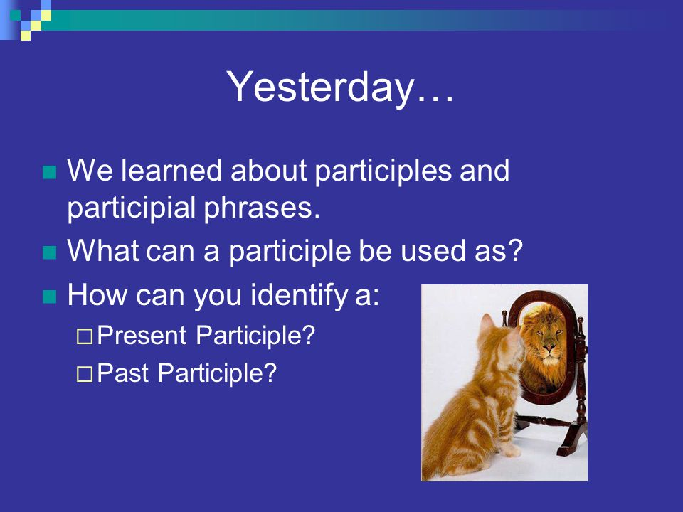 Yesterday… We learned about participles and participial phrases.