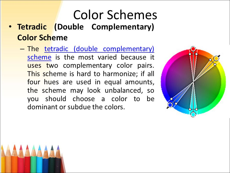 15 Color Schemes Tetradic Double Complementary Scheme