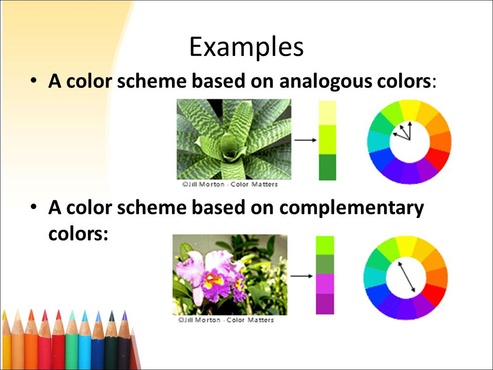 Analogous Color Scheme Example color selection in web design - ppt download
