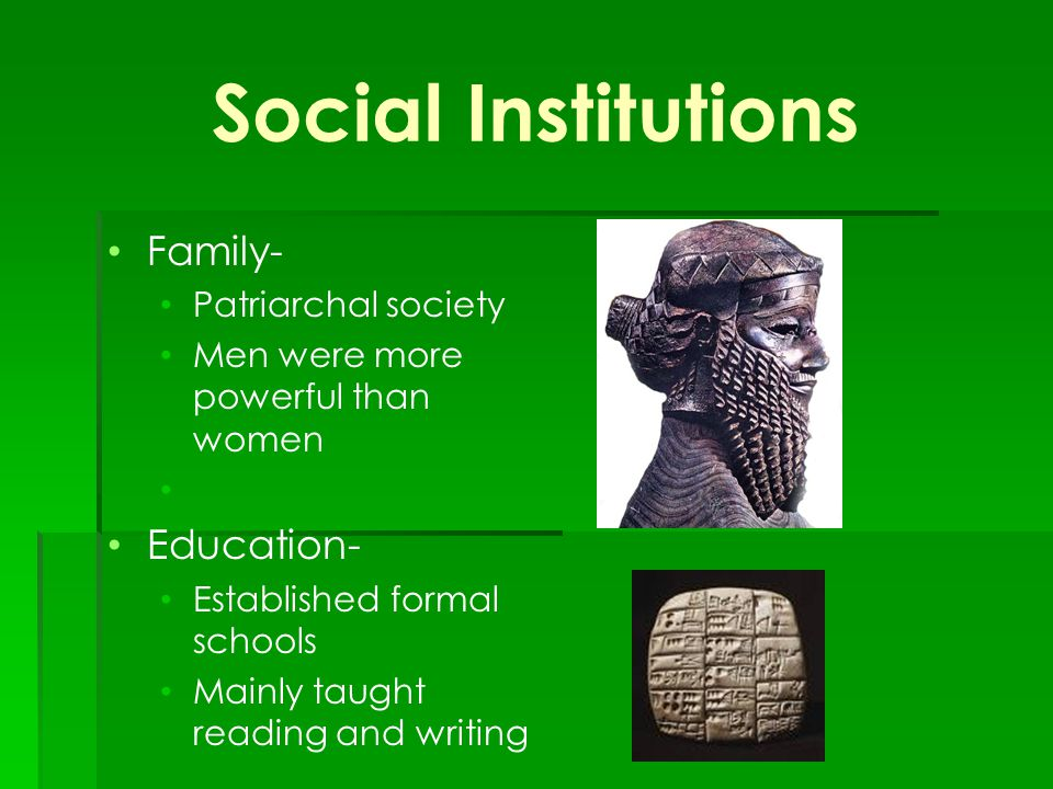 social institutions family education and religion Other basic social institutions, found cross-culturally, include the family,  government, education, religion and economic systems marriage is foundational,  as it.