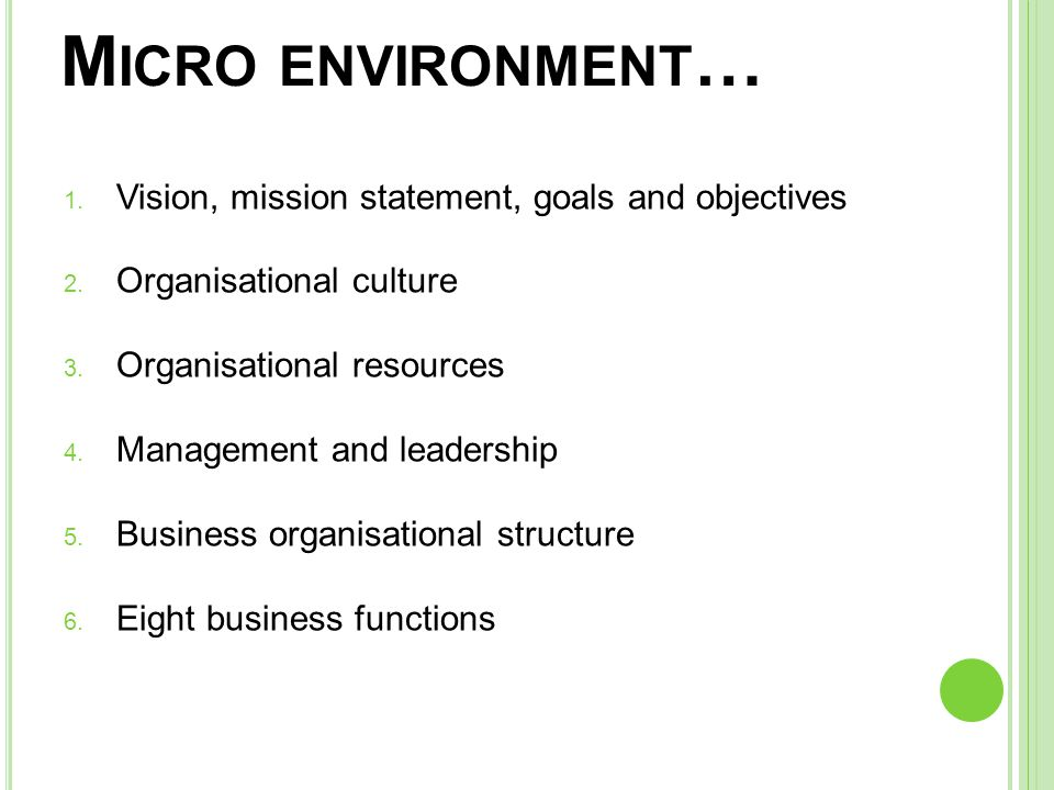 mission and objectives in internal environment Strategic management process/vision, mission, goals and objectives / the external environment, internal profile, and swot mod 1 slp background the strategic management process: vision, mission, values, goals, stakeholders.