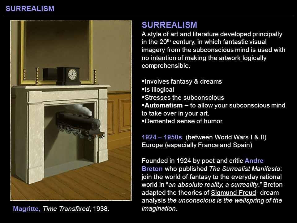an analysis of the surrealist manifesto from 1924 Reading questions: surrealist manifesto (1924) april 23, 2013 by litilluminations in reading questions and tagged breton, dream, freud, manifesto, surrealism | leave a comment what manifesto-like traits can you see in the surrealist manifesto.
