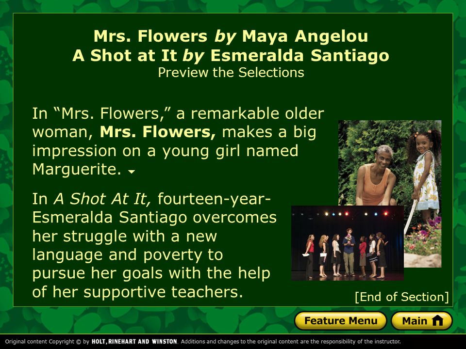 mrs.flowers by maya angelou essay The essay about mrs flowers, called sister flowers by her peers, is contained in maya angelou's autobiography entitled i know why the caged bird sings the thesis or purpose of the essay is .