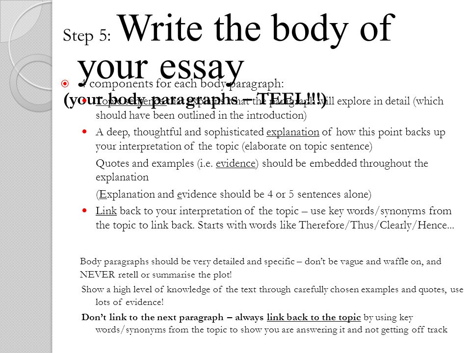 writing the body of your essay One of the ways in which you will be evaluated on your writing tasks is how well your essays are organized for this exclusive look inside the toefl® test, we're going to talk about specific tips to help structure and organize your written responses.