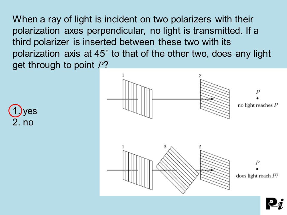 When a ray of light is incident on two polarizers with their polarization axes perpendicular, no light is transmitted. If a third polarizer is inserted between these two with its polarization axis at 45° to that of the other two, does any light get through to point P