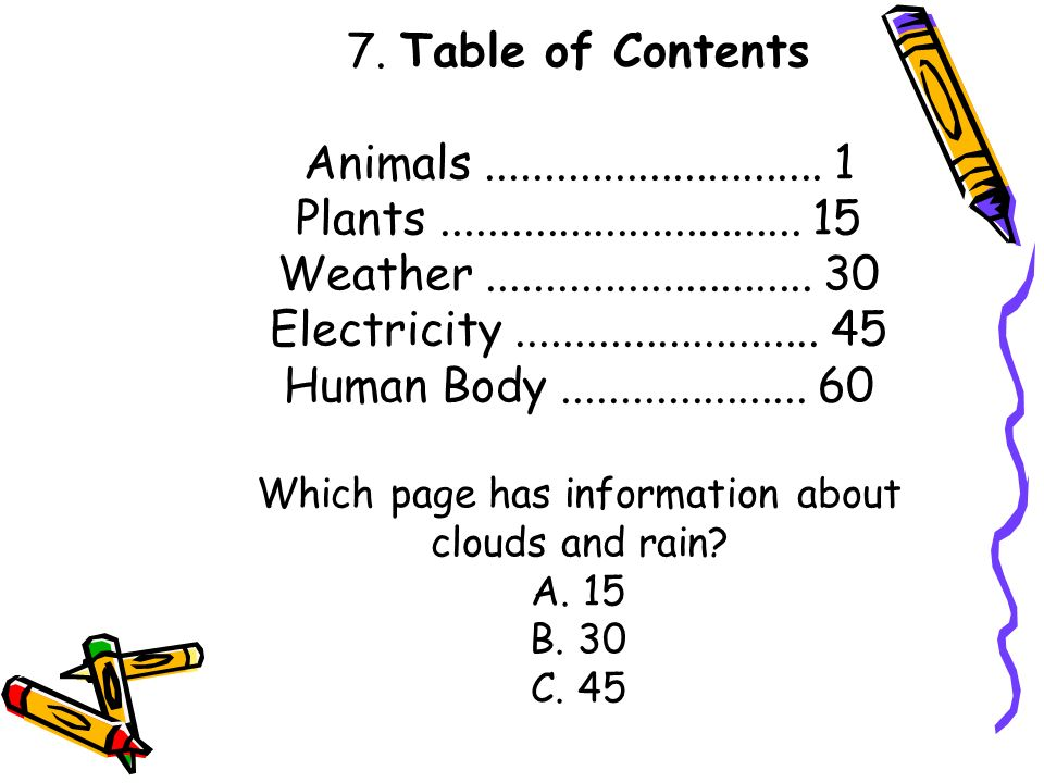 Which page has information about clouds and rain