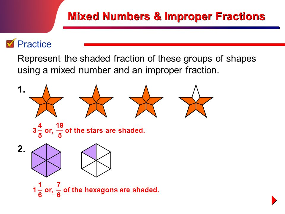 explain how to convert improper fractions to mixed numbers