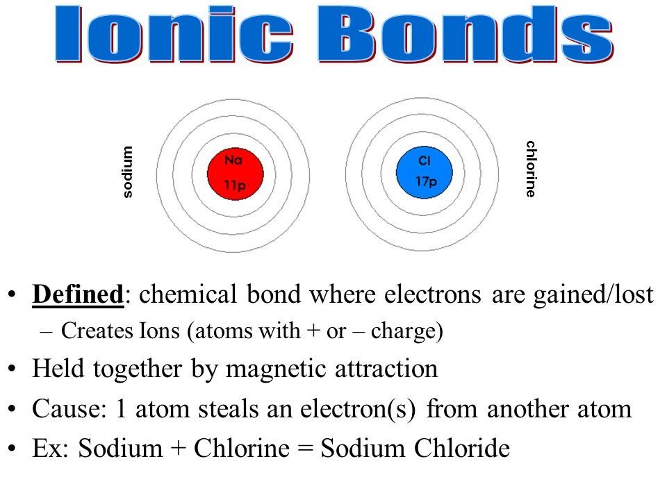Ionic Bonds Defined: chemical bond where electrons are gained/lost