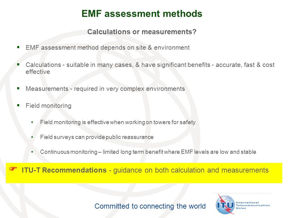 EMF assessment methods Calculations or measurements