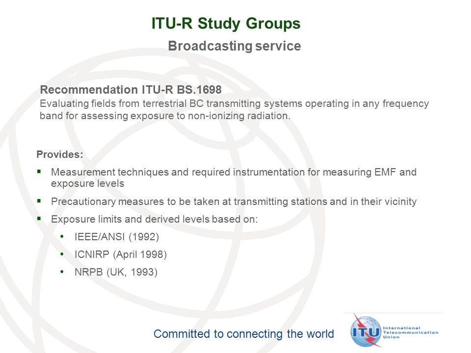 ITU-R Study Groups Broadcasting service Recommendation ITU-R BS.1698