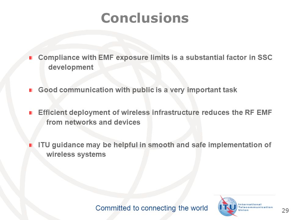 Conclusions Compliance with EMF exposure limits is a substantial factor in SSC. development.