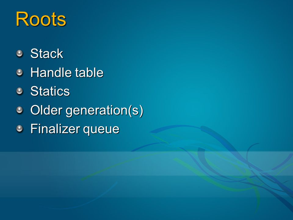 Roots Stack Handle table Statics Older generation(s) Finalizer queue