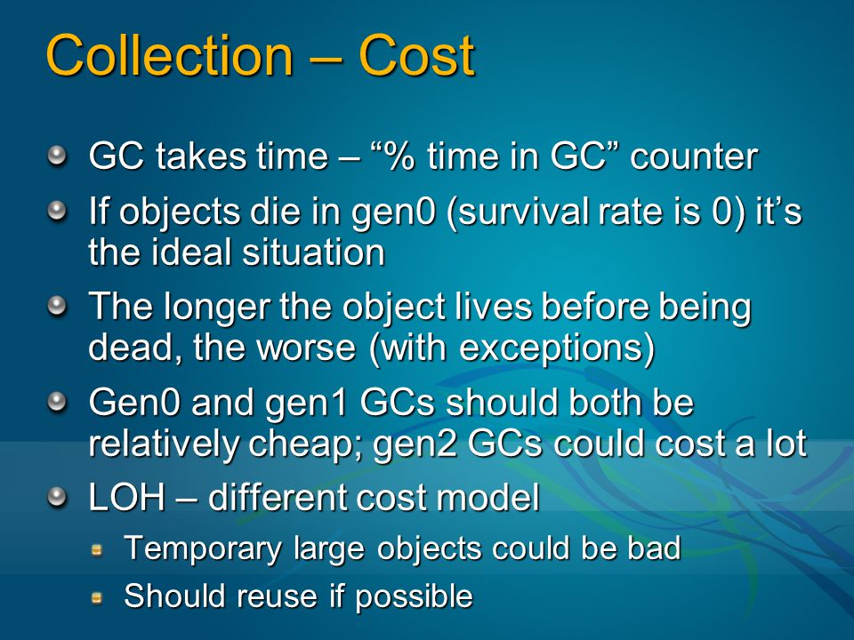 Collection – Cost GC takes time – % time in GC counter