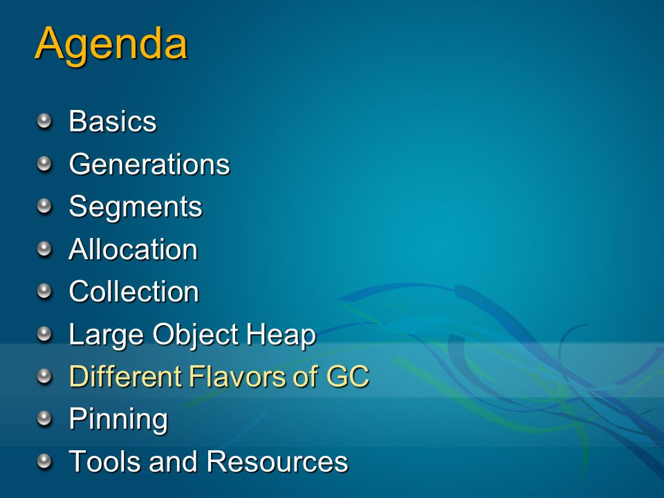 Agenda Basics Generations Segments Allocation Collection