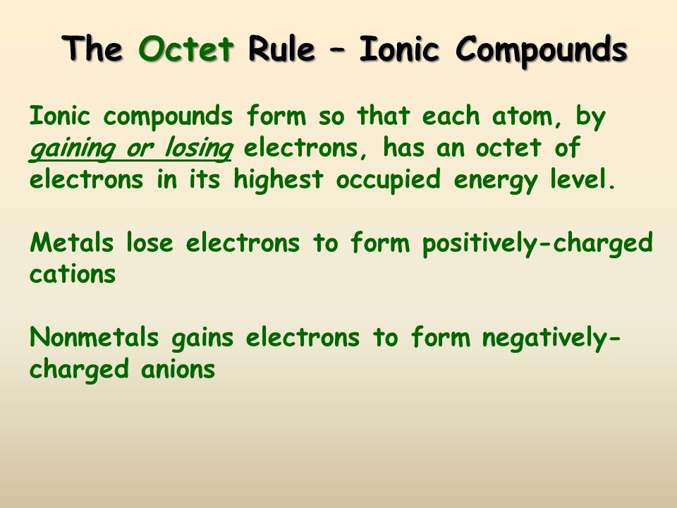 The Octet Rule – Ionic Compounds