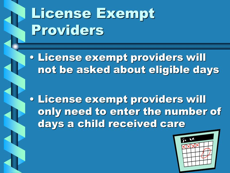 License Exempt Providers