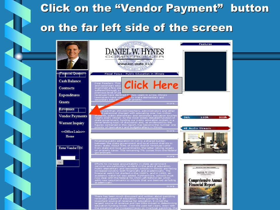 Click on the Vendor Payment button