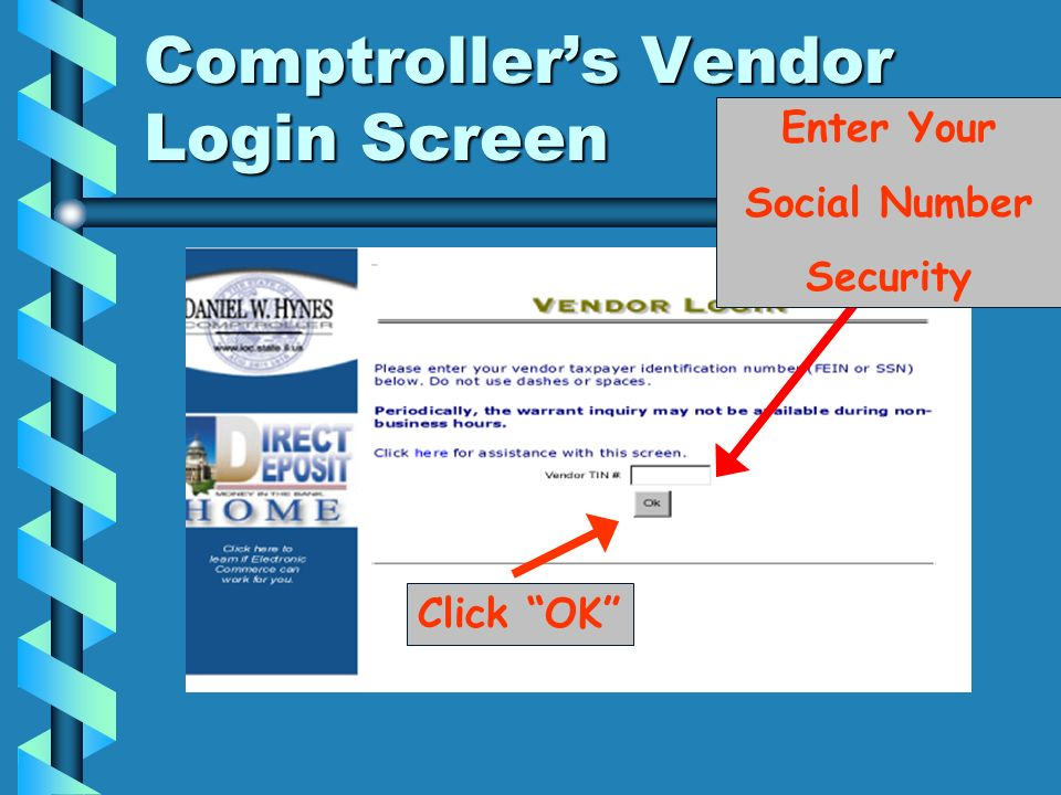 Comptroller's Vendor Login Screen