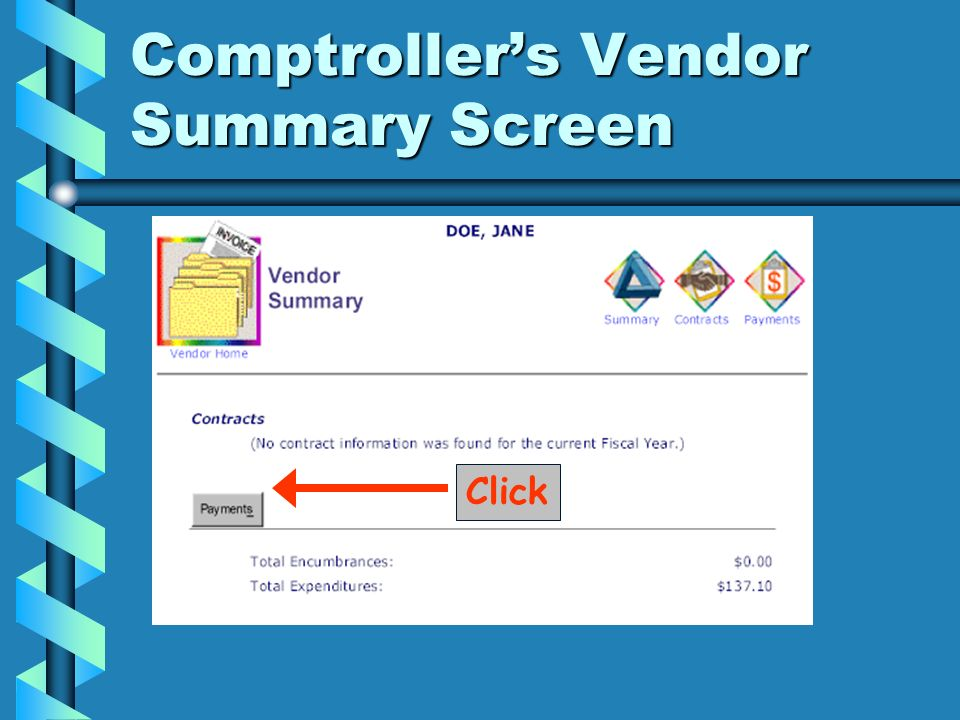 Comptroller's Vendor Summary Screen