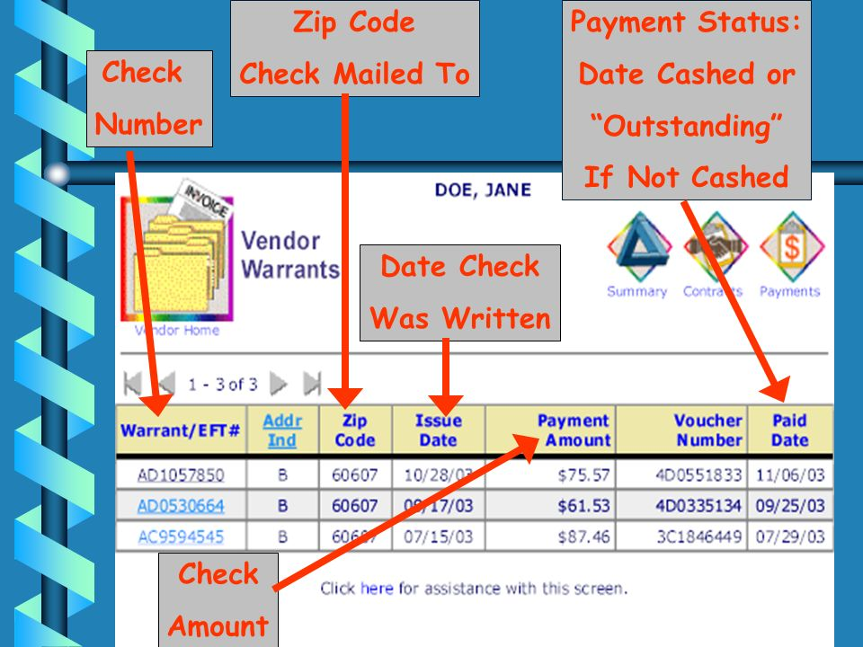 Zip Code Check Mailed To. Payment Status: Date Cashed or. Outstanding If Not Cashed. Check. Number.
