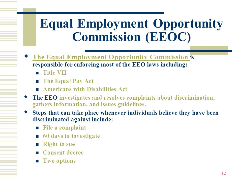discrimination and employment opportunity commission Employment discrimination  additionally, based on a work-share and contract agreement with the united states equal employment opportunity commission,.