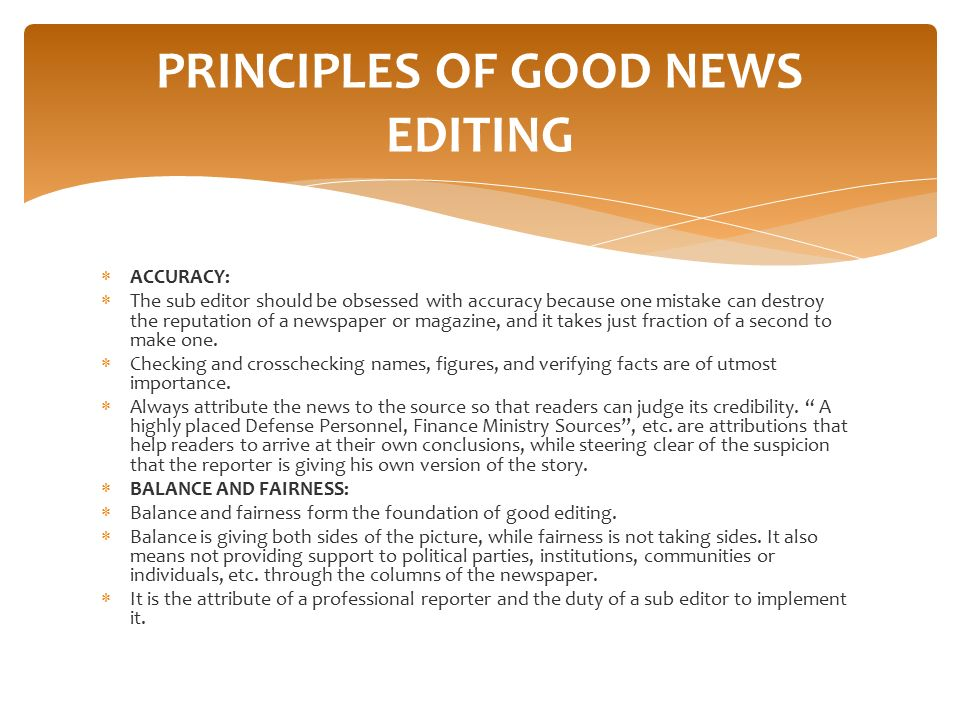 PRINCIPLES OF GOOD NEWS EDITING