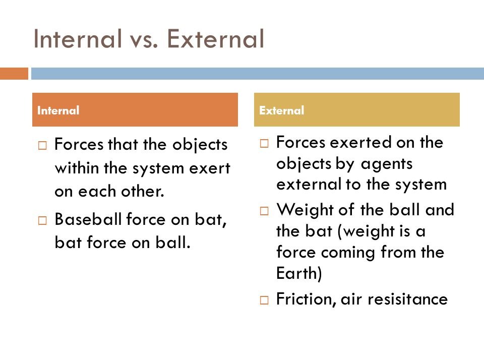Internal vs. External Internal. External. Forces that the objects within the system exert on each other.