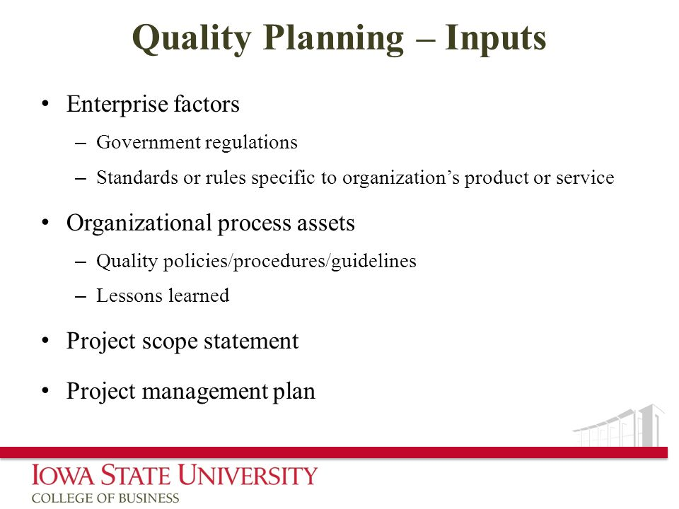 Quality Planning – Inputs
