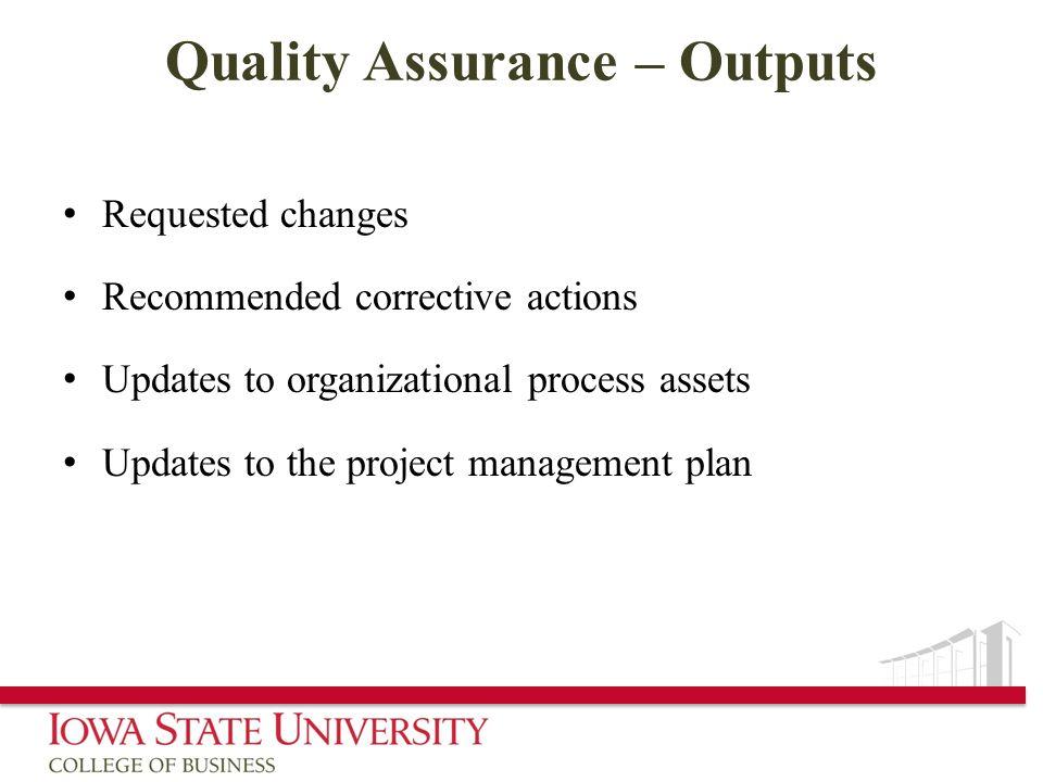 Quality Assurance – Outputs