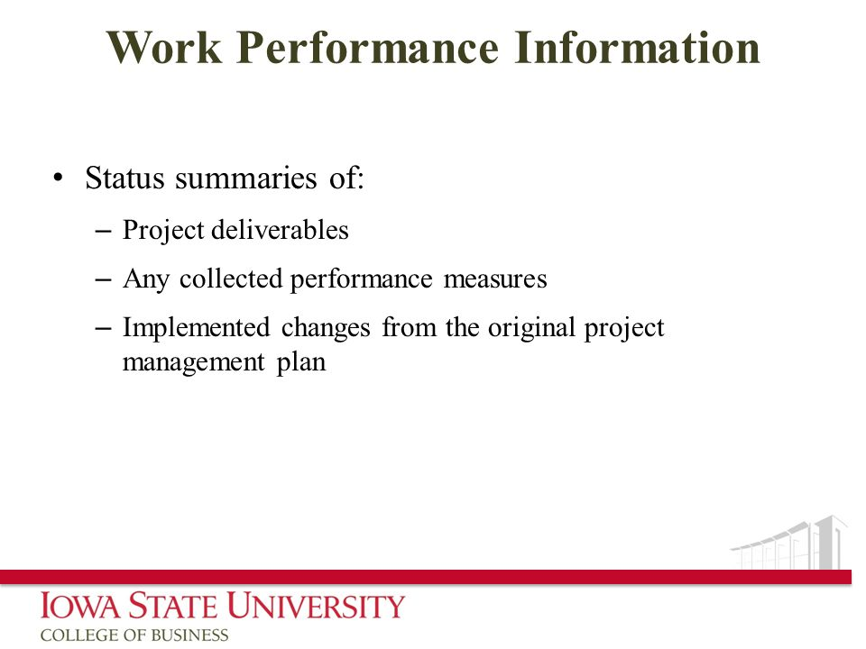 Work Performance Information