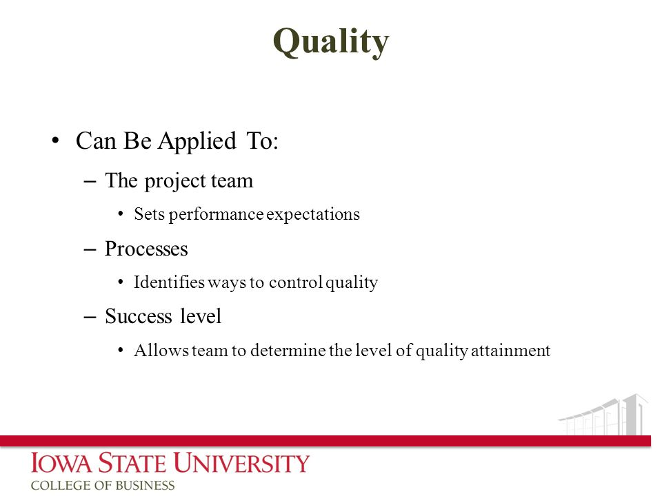 Quality Can Be Applied To: The project team Processes Success level