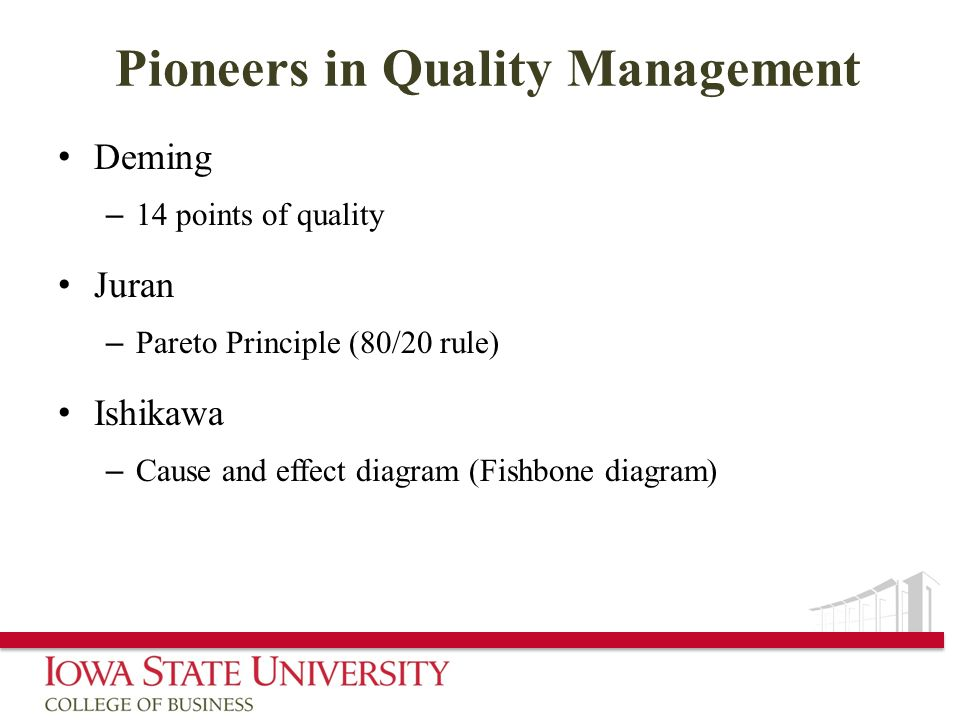 Pioneers in Quality Management