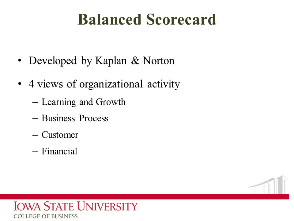 Balanced Scorecard Developed by Kaplan & Norton