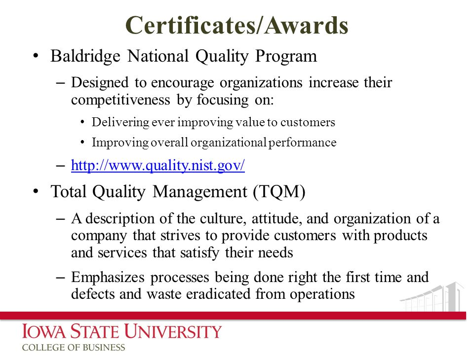 Certificates/Awards Baldridge National Quality Program